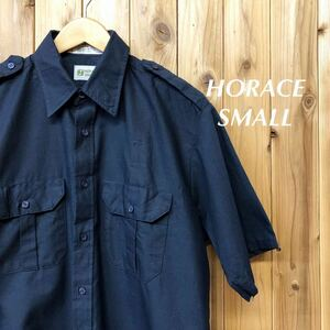 HORACE SMALL/メンズ L ワークシャツ エポレット 半袖シャツ トップス ネイビー 無地 二つポケット 作業着 アメカジ USA古着