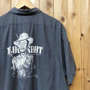 CINTAS/シンタス メンズ 2XL ワークシャツ 半袖シャツ トップス 薄地 刺繍ワッペン 二つポケット バックプリント アメカジ USA古着