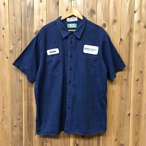 aramark/アラマーク メンズ 3XLR ワークシャツ 半袖シャツ コットンシャツ ワッペン UAC 企業系 作業着 大きいサイズ アメカジ USA古着 a