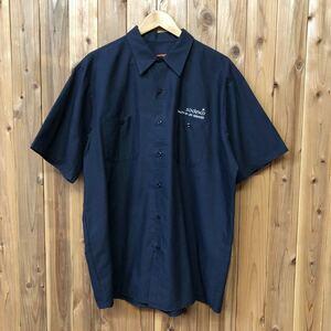 RED KAP/レッドキャップ メンズ XL ネイビー ワークシャツ 半袖シャツ 二つポケット 刺繍 sodexo 企業系 作業着 アメカジ USA古着