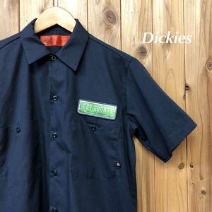 Dickies/ディッキーズ メンズ S ネイビー ワークシャツ 半袖シャツ トップス 二つポケット ワッペン アメカジ USA古着