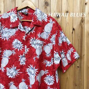 HAWAII BLUES/メンズ XXL アロハシャツ 半袖シャツ トップス 開襟 パイナップル柄 胸ポケ ハワイアン アメカジ USA古着