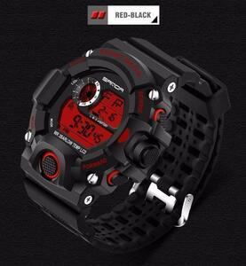 ※お得※デジタル腕時計 メンズウォッチ Gshock型 アウトドア バックライト スポーツ カジュアル 防水 耐衝撃 ブラック&レッド