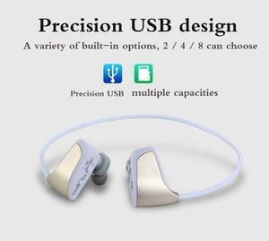 ※お得※ MP3プレーヤー イヤホン 一体型 デジタルオーディオプレーヤー 耳フック 高音質 8GB ホワイト