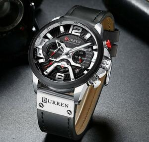 ※お得※ メンズ腕時計 男性ウォッチ クオーツ アナログ 人気デザイン 防水 カジュアル ファッション ブラック&シルバー