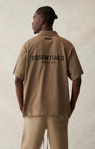【新品未使用】FEAR OF GOD FOG ESSENTIALS フィアオブゴッド エッセンシャルズ ロゴ ポロシャツ 21SS TAUPE XSサイズ