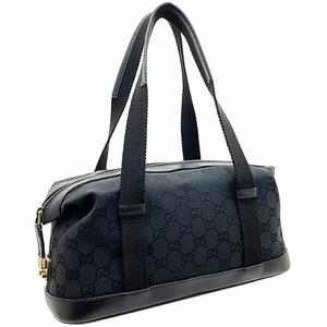 ● グッチ ハンドバッグ GGキャンバス レザー 革 ブラック 黒 92734 GUCCI ミニボストン トートバッグ 手提げ バッグ バック バック