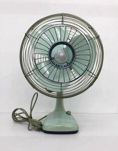 (カ-16) 古い 扇風機 昭和 レトロ 三菱 MITSUBISHI DM-12GB 薄青磁色 3枚羽根 インテリア ディスプレイ 高さ 52cm 可動品