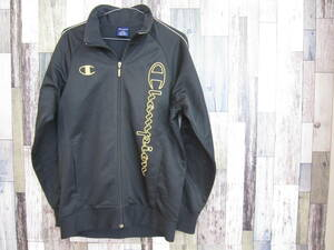 中古 古着 チャンピオン ジャージ CW1517 メンズ Lサイズ トラックジャケット 刺繍 champion 黒 ブラック スポーツ トレーニングウェア