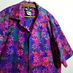 《圧倒的インパクト / ろうけつ染め》90s agnes b オープンカラー 開襟シャツ メンズ M アロハシャツ ハワイアンシャツ アニエスベー オム