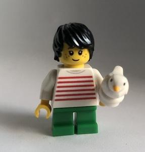 即決 新品 未使用 レゴ LEGO ミニフィギュア ミニフィグ シティ タウン 小鳥と男の子 ペット かわいいこども 白い鳥