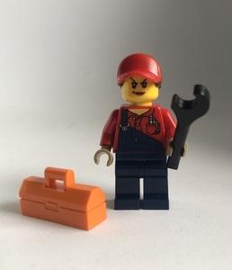 即決 新品 未使用 レゴ LEGO ミニフィグ メカニックガール エンジニア 整備士の女の子 工具箱 ミニフィギュア シティ タウン