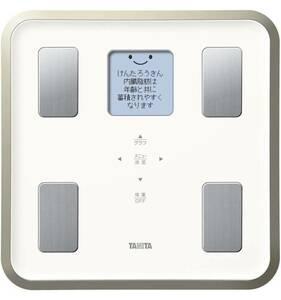 タニタ 体重 体組成計 バックライト 日本製 ホワイト BC-810 WH フルドット液晶の表示画面採用/顔イラストや応援メッセージ表示