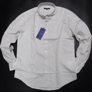 TT372 ジーステージ G-stage 新品 白ダイヤ柄 オンオフ兼用 ボタンダウンシャツ ドレスシャツ 48(L) LEON Safari 掲載ブランド