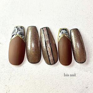 パイソンネイル トレンドネイル マットネイル ゴールド オーダーチップ 成人式 ネイルチップ ネイルアート 付け爪