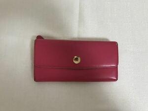 本物キタムラkitamura本革レザーボタン二つ折り長財布サイフ札入れビジネスレディース旅行トラベルピンク日本製