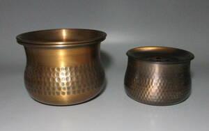 即決 銅製の建水2個 茶溢し 槌目 煎茶道具