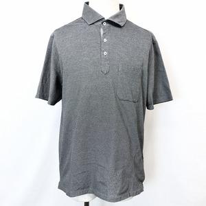 HILTON ヒルトン LL メンズ ポロシャツ カットソー 鹿の子 前立て裏にドット柄 ワイドカラー 半袖 胸ポケット 日本製 綿×ポリ ブラック系