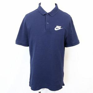 NIKE ナイキ L メンズ 男性 ポロシャツ カットソー 鹿の子 ロゴ刺繍 半袖 ショートスリーブ ロングテール 綿100% コットン ネイビー 紺