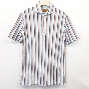 【三陽商会】Paul Stuart ポールスチュアート M メンズ ポロシャツ カットソー ストライプ ラウンドカラー 半袖 日本製 綿100% ブルー系