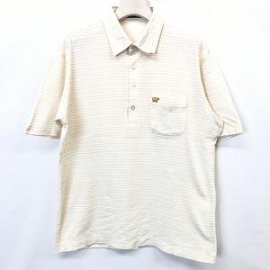 Golden Bear ゴールデンベア M メンズ 男性 ポロシャツ カットソー チェック 胸ポケットにクマの刺繍 半袖 日本製 綿×ポリ ブラウン系
