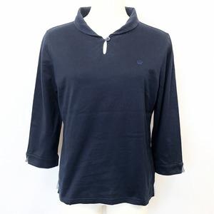 Golden Bear ゴールデンベア L レディース ポロシャツ カットソー Tシャツ生地 ロゴ刺繍 ティアドロッププラケット 7分袖 綿100% ネイビー