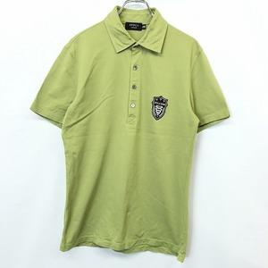EPOCA UOMO エポカウォモ 48 メンズ 男性 ポロシャツ カットソー 鹿の子 ロゴ刺繍 シェルボタン 半袖 日本製 綿100% コットン グリーン 緑