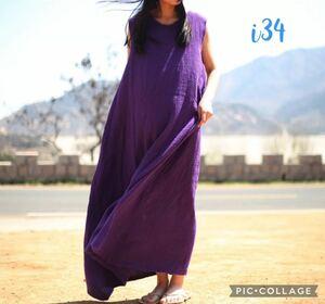 i34 新品 送料無料 レディース 夏 麻 リネン ロング マキシ丈 ワンピース ノースリーブ ゆったり ナチュラル 長め 紫 パープル シンプル M