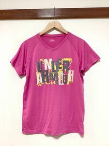 た764 アンダーアーマー UNDER ARMOUR Vネック プリントTシャツ 半袖Tシャツ LG レディース ドライTシャツ