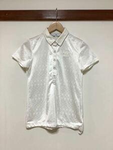 た763 Munshingwear マンシングウェア 総柄 半袖ポロシャツ メッシュポロシャツ M 白 ホワイト レディース