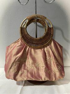 アニエスベーAgnes b. VOYAGE ハンドバッグ 木製ハンドル 花柄刺繍