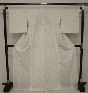 新品 1348 夏着物 大幅値下げ お仕立て上がり 正絹絽小紋 ベージュ 花