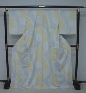 新品 1676 夏着物 大幅値下げ お仕立て上がり正絹紗小紋 白鼠/蒸栗色系 雪輪