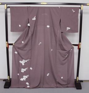 新品 1568 夏着物 大幅値下げ 正絹手縫いお仕立て上がり絽訪問着 葡萄鼠系 胡蝶蘭刺繍