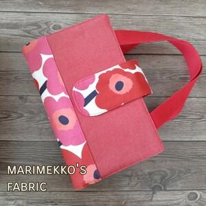 レビューブックカバー 看護師・看護学生のためのレビューブック ファスナーポケット付き マリメッコ 赤×ピンク 花 北欧