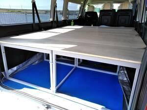 ☆☆☆200系ハイエースグランドキャビン車中泊ベットにもなるトランク棚、4枚板タイプのベッドが、道具・特殊工事無しで組立て簡単。
