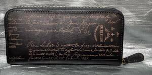 ○新品 長財布 メンズ 財布 ラウンドファスナー イタリアンレザー ブランド 革財布 本革 カリグラフィー 牛革 ブラック