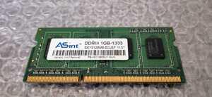 ASint SO-DIMM DDR3 1GB-1333 SSY3128M8-EDJEF 1137 PC3 memory Note PC Note-PC laptop operation verification ending