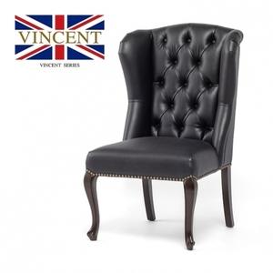 シンプルなデザイン 英国アンティーク調 ヴィンセントシリーズ ハイバックチェア 椅子 ブラック 合皮 PUレザー 猫脚 クール 9013-5P32B