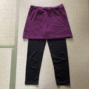 ヨガウェア スカート付きレギンス M〜L