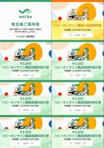 ウェルビー 株主優待券【7枚綴(入会金無料券1枚、受講料5000円割引券6枚) / 2022.8.31まで