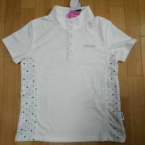 M 新品 ダンロップDUNLOP ゴルフウェア 半袖ポロシャツ ボタン カットソー レディース 白 アウトドア スポーツ レジャー 吸水速乾 UV対策