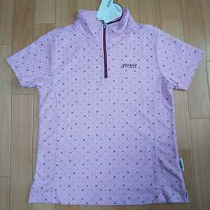 Lサイズ 新品 ダンロップ DUNLOP レディース ゴルフウェア 半袖ポロシャツ ハーフジップ ピンク スポーツ アウトドア 吸水速乾 UV対策 golf