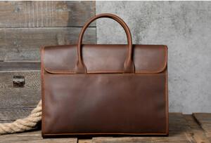 職人手作り 牛革 ハンドメイド メンズ 本革 ビジネスバッグ ブリーフケース レザー 通勤鞄 トートバッグ 手提げバッグ A4対応AMWYY-MB-253