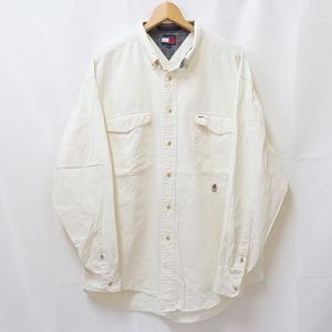 90's トミーヒルフィガー XL 白系 クリーム 刺繍 90年代 Tommy Hilfiger 長袖 大きめ ビッグサイズ メンズ 古着 中古 lsh121