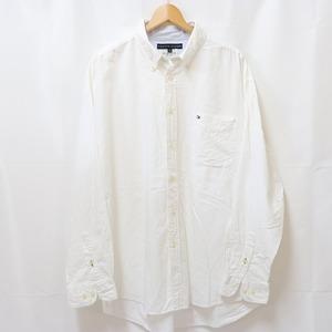 トミーヒルフィガー XL 白 ホワイト ボタンダウン Tommy Hilfiger 長袖 大きめ ビッグサイズ メンズ 古着 中古 lsh124