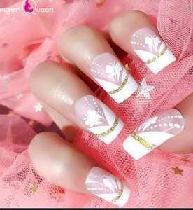 ネイルチップ、付け爪、ピンク