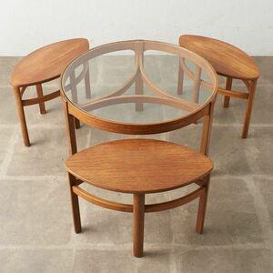 IZ50633C○Nathan ネストテーブル イギリス 英国 ネイサン コーヒーテーブル ラウンドテーブル ガラストップ チーク センターテーブル ロー