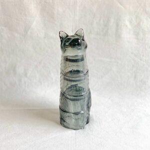 IZ51017S○Kitty Stackable Glass Black スタッキング グラス ネコ ねこ ブラック コップ 食器 パーティ 猫 ガラス カップ プレゼント