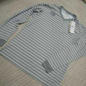 新品 定価5390 CUTTER&BUCK 吸水 速乾 長袖 Tシャツ L グレー ボーダー 動きやすい Motion3D カッター&バック 正規 ゴルフ カットソー